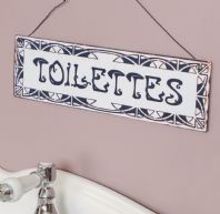 French Shabby Chic 'Toilettes' Metal Bathroom Wall Plaque